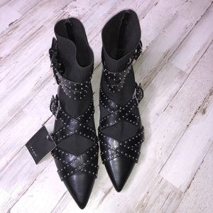 Zara Shoes - Zara Studded Buckled Flat Sock Ankle Boots